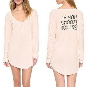 Wildfox If You Snooze You Lose Sleep Shirt Snap